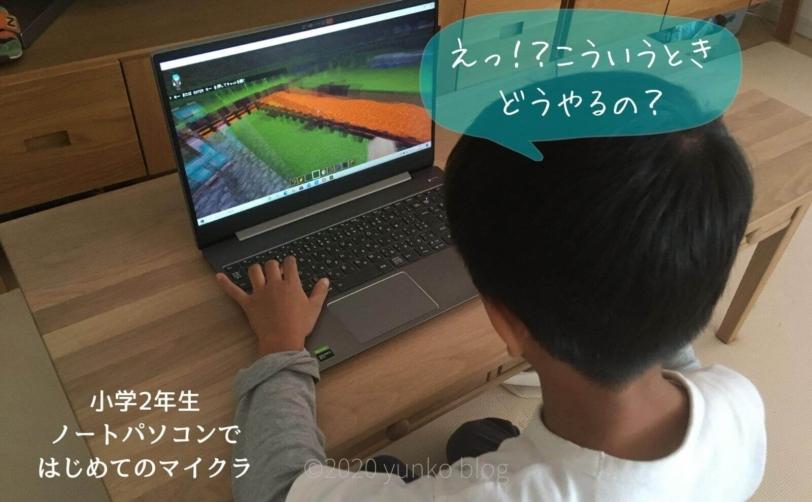 小2 はじめてパソコンで マイクラしたとき