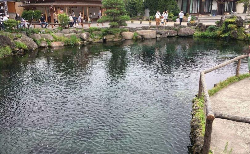 富士山山中湖忍野八海中池土産物店からの眺め