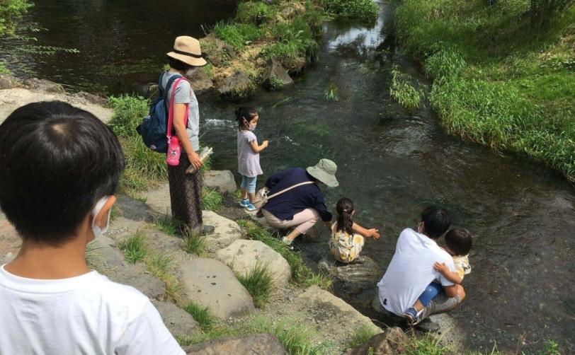 富士山山中湖忍野八海濁池からの川の水を触る
